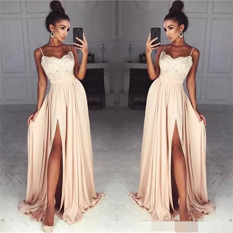 Cheap Long Spaghetti Straps Lace Evening Dresses Side Split Sexy Custom Simple Prom Dresses Evening Dress 2019