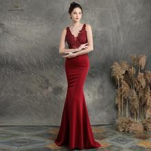 Robe de soirée style sirène, noire, élastique, sexy, col en v, robe de bal avec perles appliquées, modèle 2019
