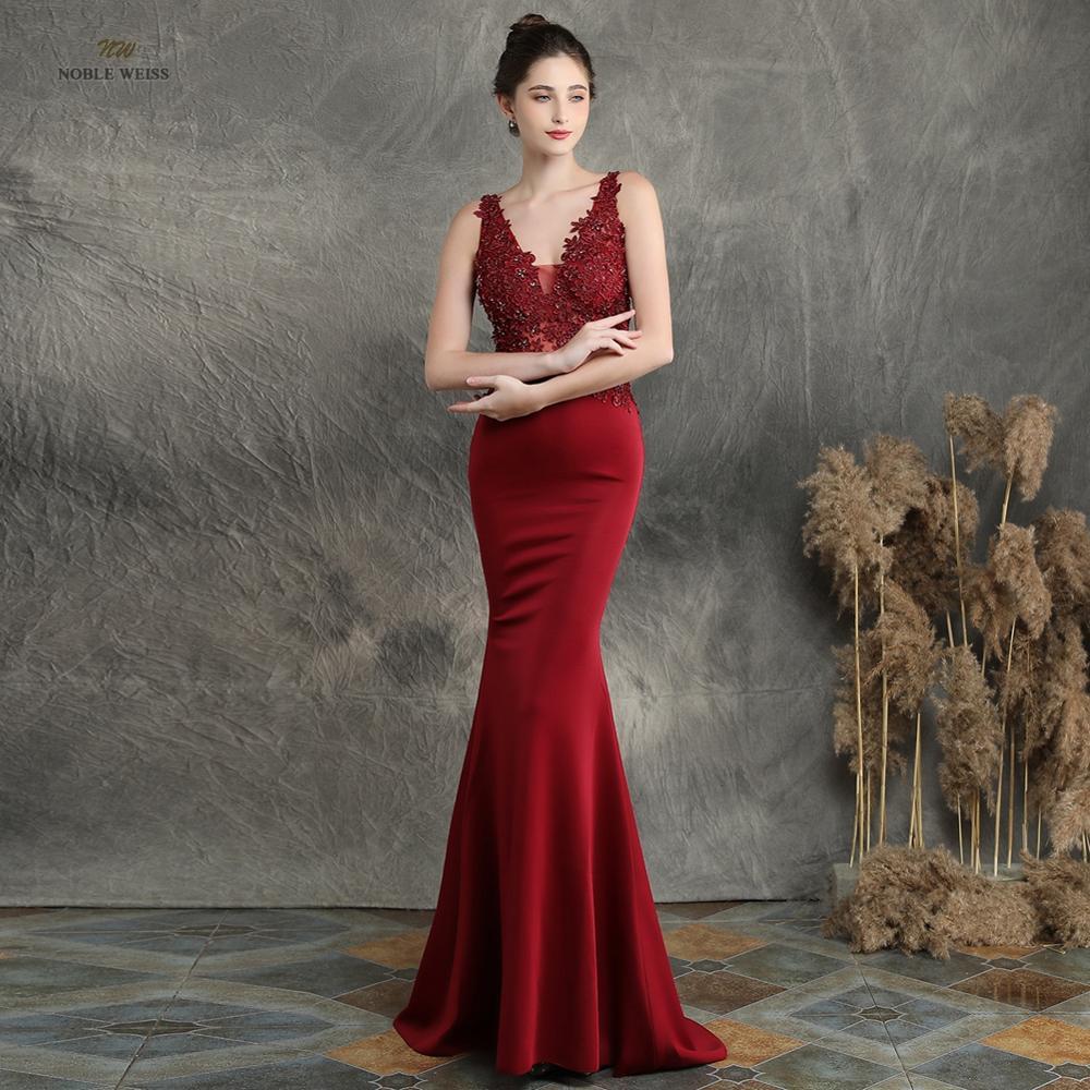 Robes de bal 2019 robe de soirée élastique sirène noire robes de gala sexy col en v appliques perles robe de bal