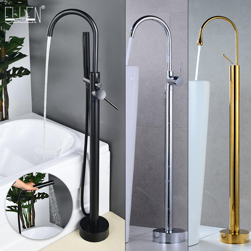 Antique Bronze Floor Stand Bath Faucets Bathtub Hot Cold Water Mixer Flooring Faucet Black   Chrome Gold Finished  MLB2004