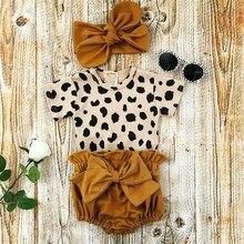 2021 mode Neugeborenen Kleinkind Baby Mädchen Kleidung Sets Leopard Print Kurzarm Romper Tops Bogen Shorts Stirnband 3 stücke Outfit set