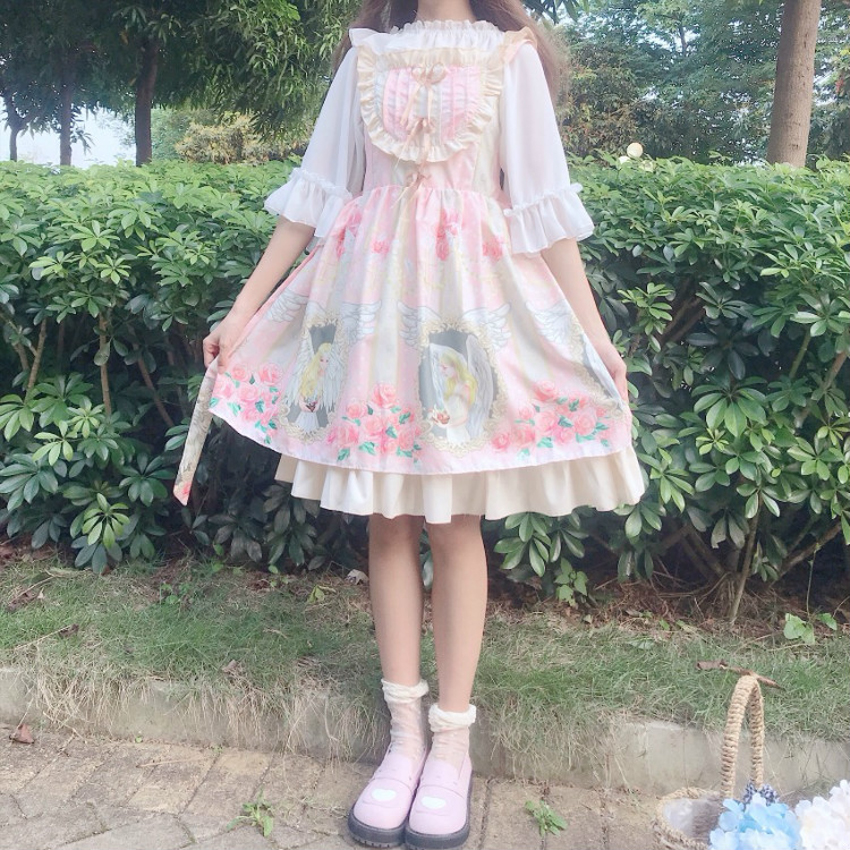 Japanese European Style Tea Party Grils Lolita Dress Luxury JSK Court Gothic Princess Chiffon Women Petal Sleeve Maid Costume