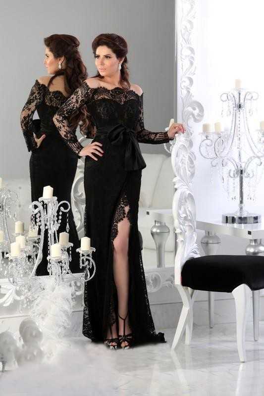 Elegant Prom Vintage Black Gow China Off The Shoulder Long Sleeves Formal Muslim Kaftan Party Gala Mother Of The Bride Dresses