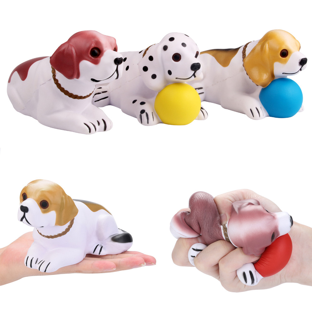Dog Holding Ball Toy Squeeze Cute Kneeling Dog Slow Rising Cream Scented Decompression Funny Toys For Kids Gift  L113