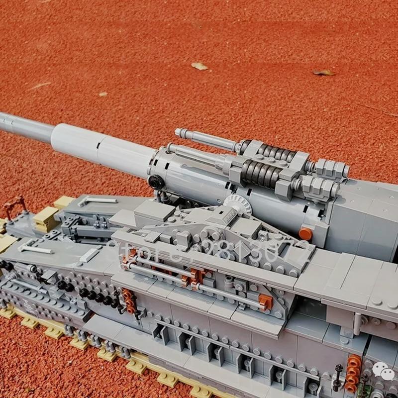 En existencias alemán 80cm K [E] ferrocarril Dora 3846 Uds bloques de construcción ladrillo KZ10005 niños regalo cañón E arma de vía férrea WW2 - 3
