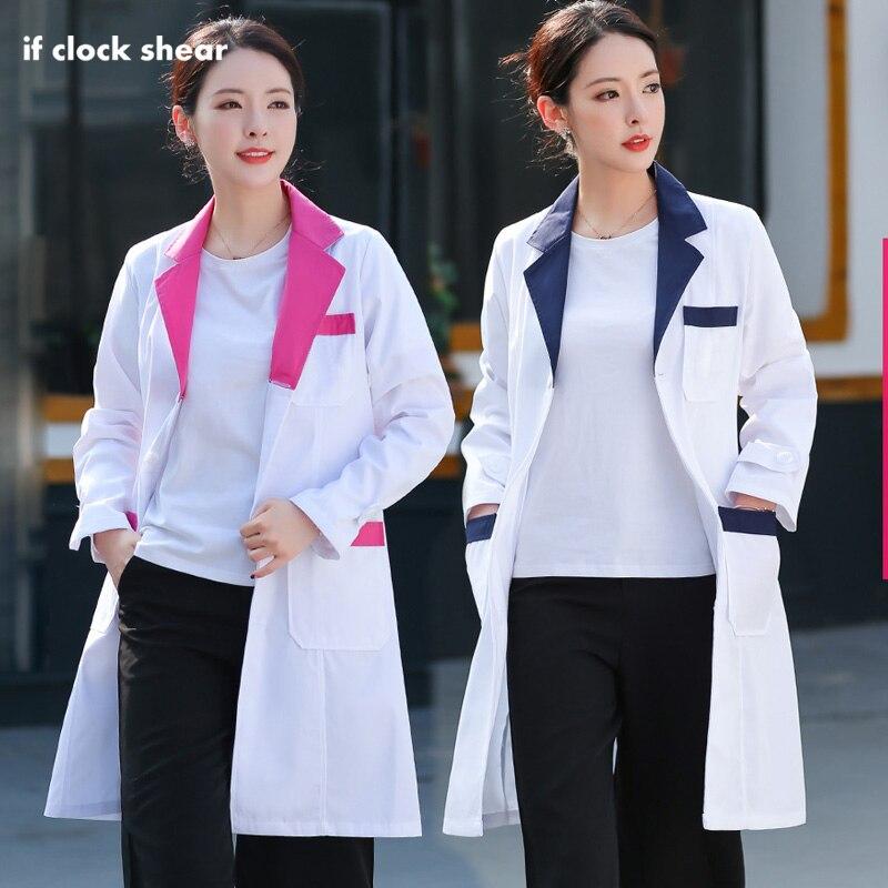 Medical Surgical White Coats Beauty Salon Workwear Nurse Long Sleeved Hospital Lab Coats Famale Spa Uniform Doctor's Clothing