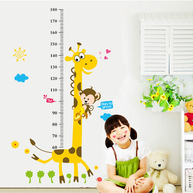 Cute Animals Wall Stickers Height Measure Ruler 60-180cm Decals Kids Vinyl Wallpaper Mural Children Room Growth Chart Stickers