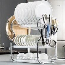 3 Tiers Teller Trocknen Rack Abtropffläche Platte Halter Lagerung Regal Küche Organizer Stehen Waschbecken Abfluss Schneiden Bord Halter Abtropffläche