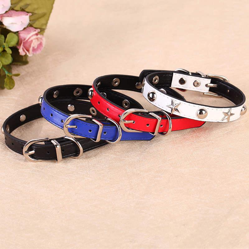 Feng Pei Pet Supplies Alloy Buckle Dog Neck Ring Hot Selling Five-pointed Star Pet Collar Pu Dog Collar