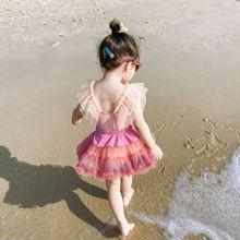 Baby Girls Tutu Dress Bikini Swimsuit One-piece Summer Hawaii Beach Children Quick-Drying Swimwear Lovely Swimming Dress