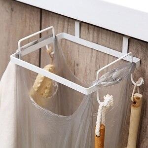 Kitchen Hangable Plastic Bag Rack Cabinet Storage Holder Garbage Shelf Bathroom Towel Shelve with Hook Support Kitchen Supplies