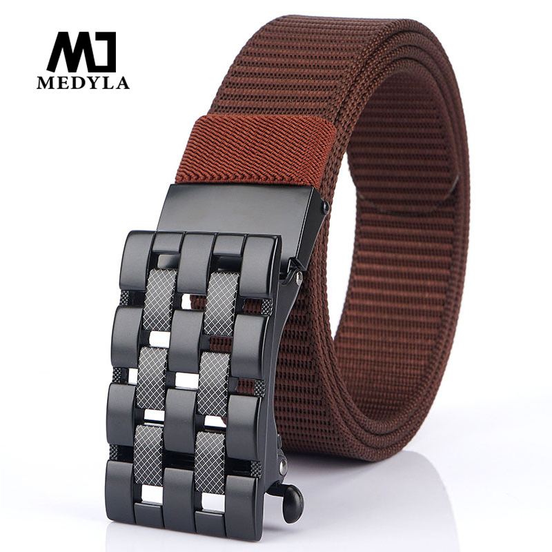 MEDYLA 2020 New Alloy Buckle Men's Belt Personality Design Adjustable Breathable Nylon Casual Belt Business Dress Fashion Belt