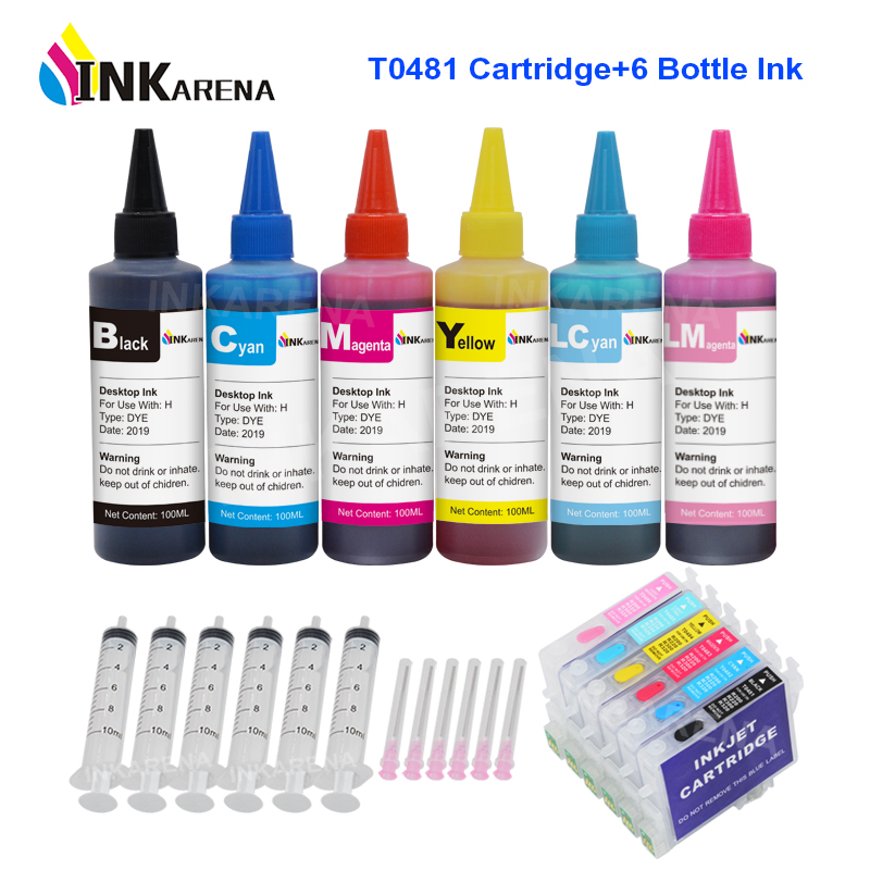INKARENA T0481 Empty Refillable Ink Cartridges + 6×100ml Bottle Printer Ink For Epson Stylus Photo R200 R220 R300 R300M R320 image