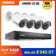 ANNKE 8CH 4K Ultra FHD POE sieciowy System nadzoru wideo 8MP H.265 NVR z 4X 8MP odpornymi na warunki atmosferyczne kamerami IP CCTV Kit