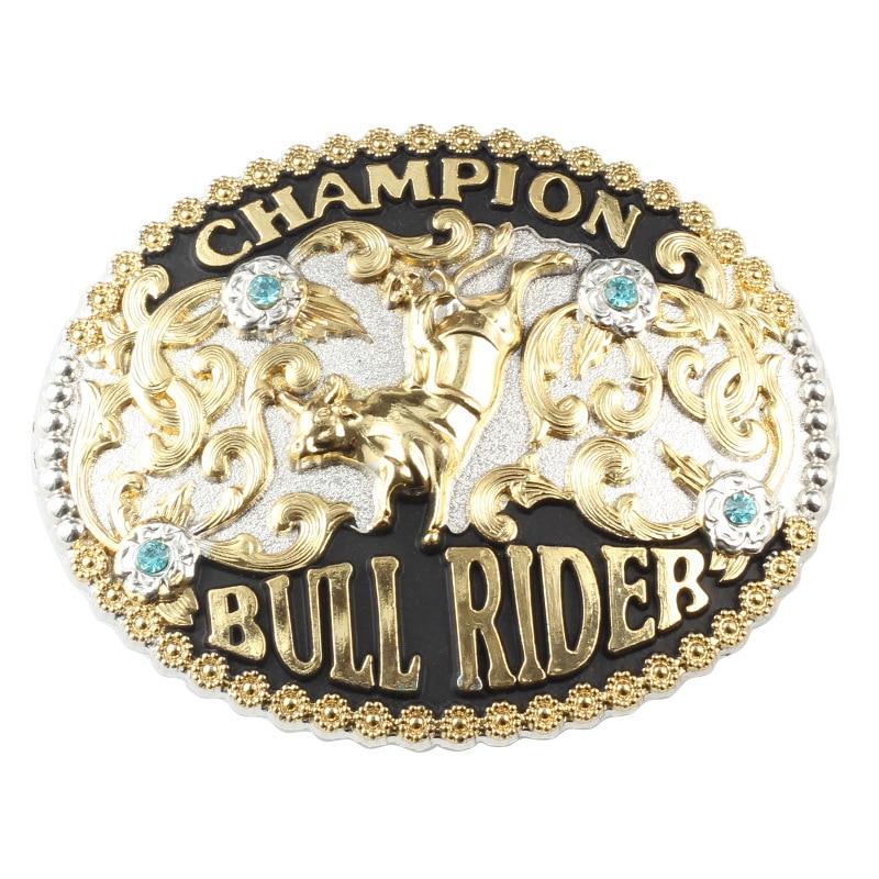 Luxuy Diamond Alloy Belt Buckle Bull Pattern Buckle For3.8cm Belt
