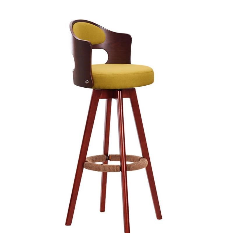 Solid Wood Nordic Bar Chair, High Foot Bar Stool, Front Desk, Swivel Bar Chair, Back Chair, Modern And Simple Household