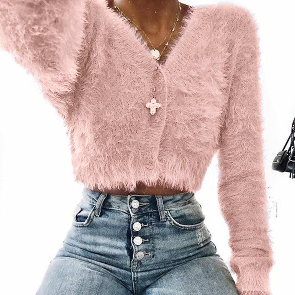 Elegant Ladies Solid Color Sweaters Women Fashion V-neck Long Sleeve Furry Casual Sweater Crop Popular Women Top Ropa Mujer 9.10