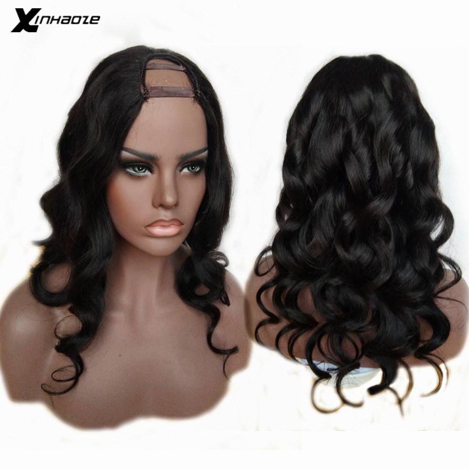 U Shape Part Wig Human Hair Wig With Straps And Combs For Black Women 100% Unprocessed Peruvian Remy Hair Body Wave U Part Wigs