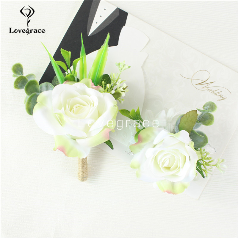 Wedding Corsages And Boutonniere Men Brooch Bridesmaids Wristband Flowers Groom Buttonhole Sister Wrist Bracelet Wedding Flowers