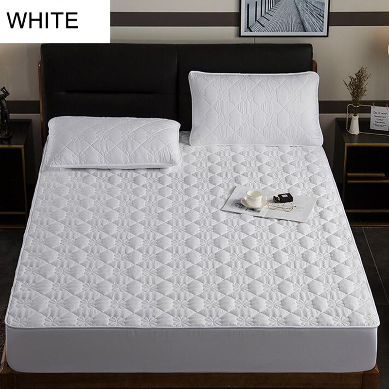 Quilted Mattress Cover 100% Cotton Soft Fiber Mattress Topper Pad Solid Color Twin Queen King Bed Bugs Protector Anti Dust Mite
