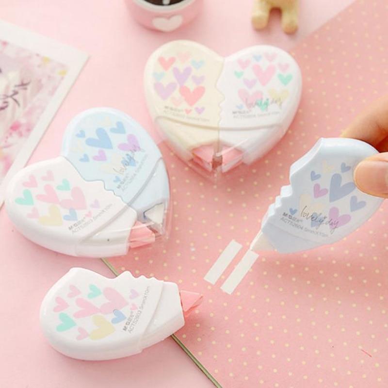 1 Pcs Kawaii Love Heart Correction Tapes Material Escolar Corrector Tools Korean Stationery Office School Papelaria 10M