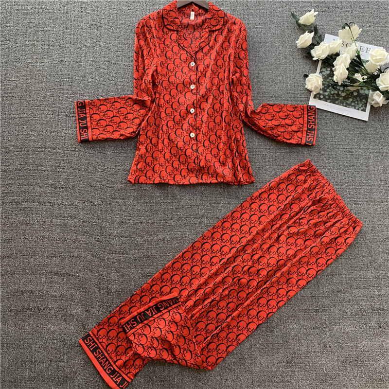 2020 Ladies Silk Poly Pajamas Sets Women Long Sleeve Trousers Two piece Set Sleepwear Lounge Sets Pijama Mujer Female Nightsuits|Pajama Sets| - AliExpress