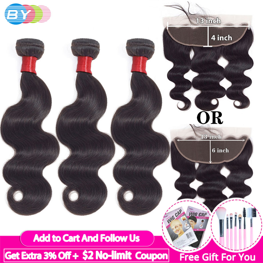 BodyWave Bundles With Frontal Brazillian Ear To Ear Lace Frontal With Bundles Human Hair Bundles With Closure Hair Extension
