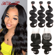 Body-Wave-Bundles Closure Human-Hair Ali-Annabelle Weave with HD Lace
