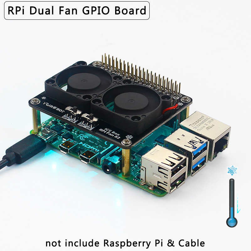 Raspberry Pi 4 Dual Fan GPIO Extension Board With Blue LED Light Super Cooling Fan For Raspberry Pi 4 Model B /3B+/3B