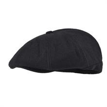 VOBOOM Black Newsboy Caps Men Wool Blend Flat Cabbies Fall Winter Warm Flat Gatsby Hat Flat Caps Classic Headpiece 111 cheap Polyester Adult Casual BDMZ111 Solid