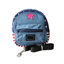 New Cute Pet Dog Denim Backpack with Leash Traction Rope Daily Harness Bag Travel Carrier Portable Puppy Cat School Bags