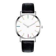 Men Watch Fashion Round Dial Quartz Soft Leather Strap Minimalist Ultrathin Wrist Watches Birthday Gift