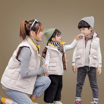 Nowe dzieci kamizelka chłopiec i dziewczyna rodzina matka ubrania dla dzieci 3-12 stary rozmiar jesień zima 9VT002 tanie i dobre opinie bianhuakai COTTON Octan warmer Kurtki płaszcze Suknem Unisex Vest Stałe MANDARIN COLLAR REGULAR Moda Pasuje prawda na wymiar weź swój normalny rozmiar