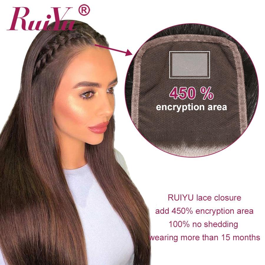 Hbfecbc838ba446f08fa6a92b5bac18f54 Human Hair Brown Bundles With Closure Brazilian Straight Hair Weave Bundles With Closure Middle Ration 10- 26 Inch NonRemy RUIYU