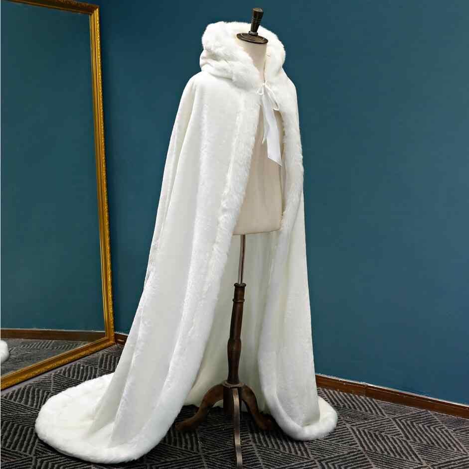 SHAMAI Warm Faux Fur Trim Winter Bridal Cape Stunning Wedding Cloaks Hooded Long Party Wraps Jacket White/Ivory Wrap