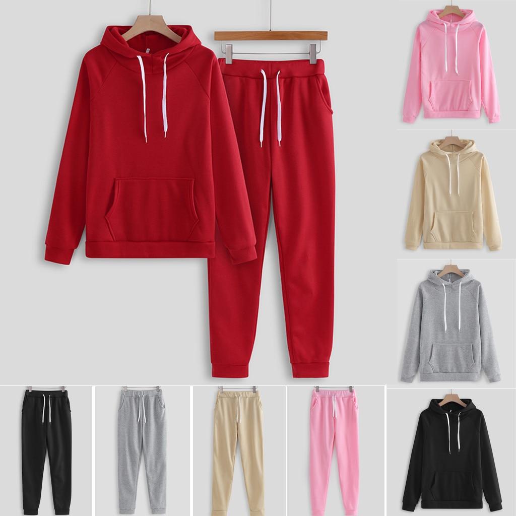 Plus Size Running Set Women Winter Sport Suit Hoodies Tracksuit Solid Color Hooded Sweatshirt And Pant Tracksuit Sport Suit#G2