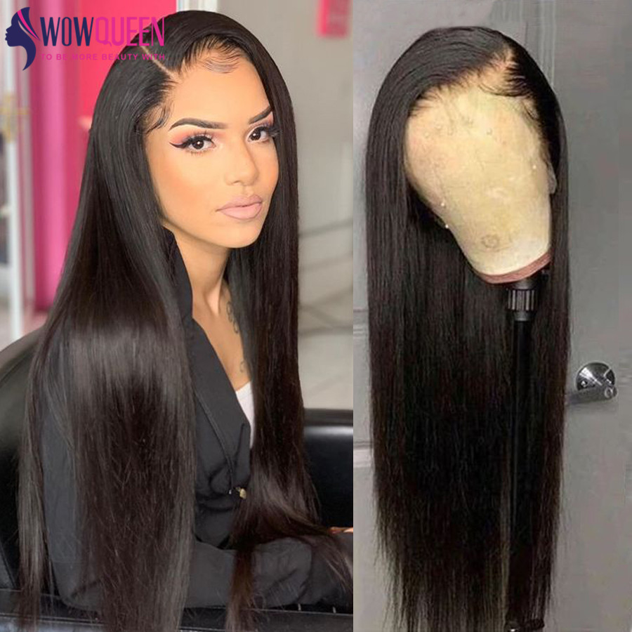 360 Lace Frontal Wig Full 30 Inch Wig Peruvian Straight 4x4 / 6x6 Closure Wig WowQueen Remy Straight Lace Front Human Hair Wigs