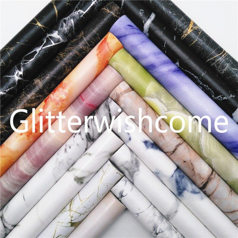 Винил Glitterwishcome размера A4 21 х29 см для бантов, ткань из искусственной кожи с мраморным принтом, листы из искусственной кожи для бантов, GM528A