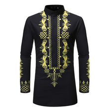 Men Shirts Business Office Ethnic Print Mens Tops Long Sleeve African Clothes Black Rich Dubai Dashiki Casual Shirt Plus Size(China)