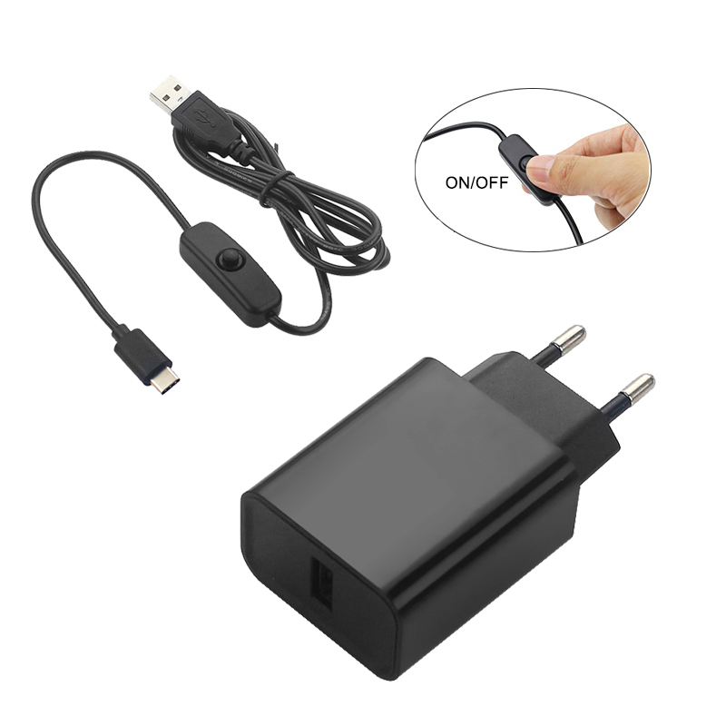 Raspberry Pi Power Supply 5V 3A DC Power Adapter EU US 1M USB Type C USB Cable With ON/OFF Switch For Raspberry Pi 4 Model B