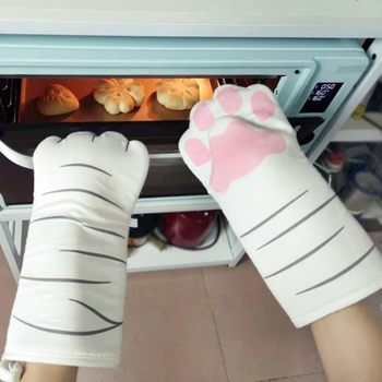 1PC 3D Cartoon Animal Cat Paws Oven Mitts Long Sleeves Microwave Heat Resistant Non-slip Gloves Cotton Baking Insulation Gloves
