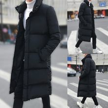 Men's Winter Mid-length Pure Color Thickened Hoodie Cotton-padded Jacket Coat Dropshipping Winter 2020 Fashion Work clothes(China)