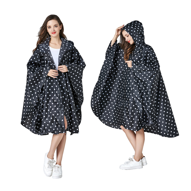 Womens Stylish Waterproof Rain Poncho Coloful Print Raincoat with Hood and Zipper