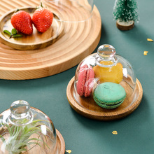 Mini Dessert Dish Dessert Cup Mousse Tray Cake Plate Wooden Covered Glass Cover Snacks Dessert Plate