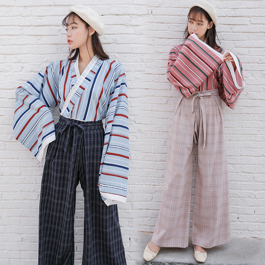 Japanese Style Traditional Clothing Kimono Cosplay For Women Kawaii Girl Streetwear Fashion Haori Stripe Top Plaid Pants Suit
