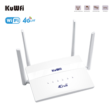 KuWFi 4G LTE CPE WiFi Router 300Mbps Wireless Router Wide Coverage with 4 High-gain External Antennas SIM Slot Up to 32 Users