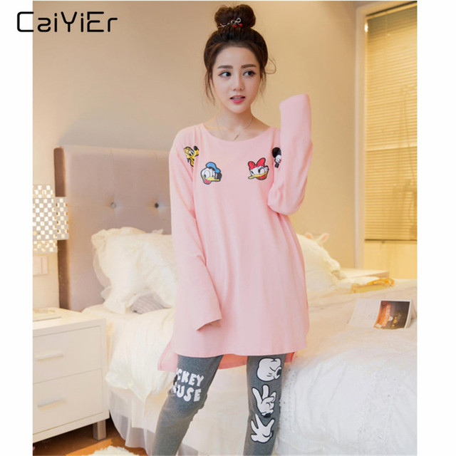 Caiyier Autumn Spring Women Pajamas Set O Neck Cartoon Mickey Long Sleeve Sleepwear Leisure Thin Soft Nightgown Home Clothing