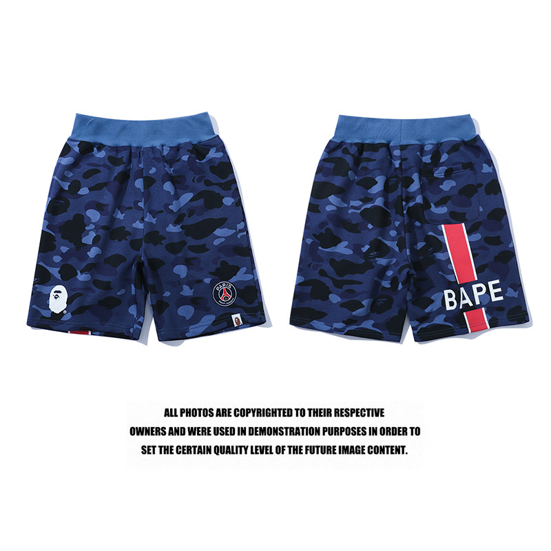 Japanese-style Paris Saint Germain Joint Camouflage Blue Shorts Men And Women Couples Loose-Fit Sports Casual Shorts