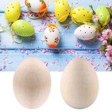 Huevo de Pascua de madera Natural para niños, grafiti pintado, simulación de huevos, ornamento de Pascua, decoración del hogar, artesanal, Manual, 1/2 Uds.