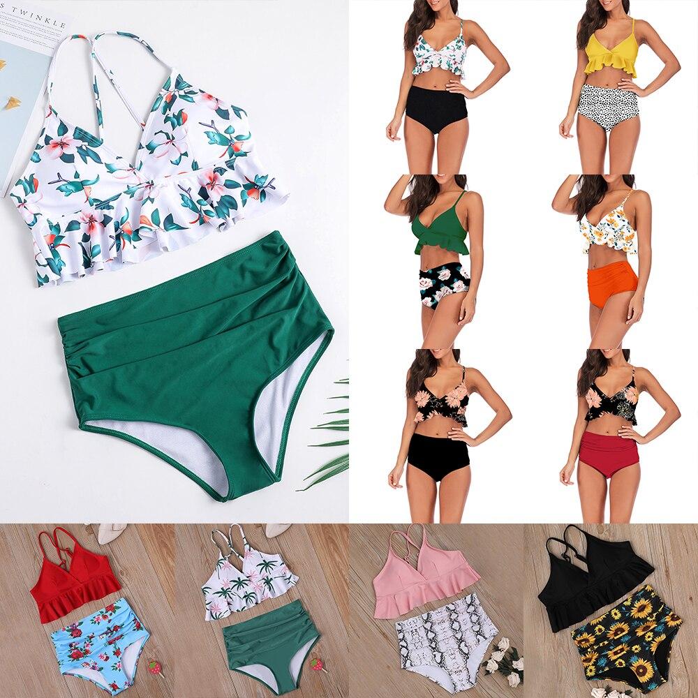 Swimwear Women Bikini 2019 High Waist Swimsuits Ruffles Bikinis Swimming Suit For Womens Push Up Bathing Suits Biquini 11 Colors